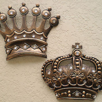 NEW Gold Crown Wall Decor Art Royalty King Queen Prince Princess His Hers Gifts