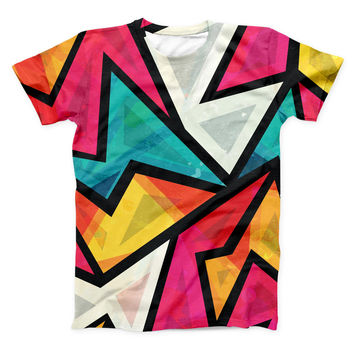The Retro Vector Sharp Shapes ink-Fuzed Unisex All Over Full-Printed Fitted Tee Shirt
