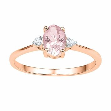 10k Rose Gold Women's Oval Lab-Created Morganite Solitaire Diamond Ring