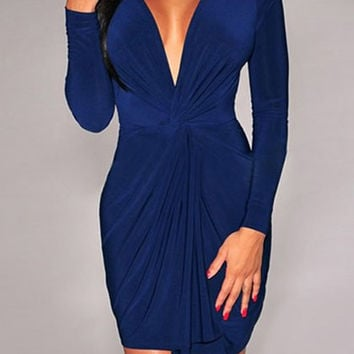 Blue V-Neck Ruffled Mini Dress