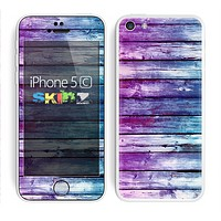 The Pink & Blue Dyed Wood Skin for the Apple iPhone 5c