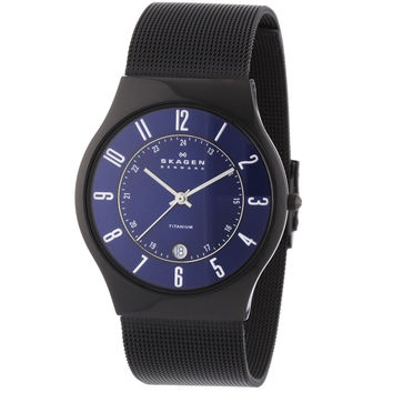 Skagen T233XLTMN Men's Denmark Royal Blue Dial Black Plated Titanium Mesh Bracelet Quartz Watch