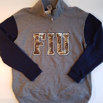 Victoria's Secret PINK Florida International University Half-Zip Bling Sweatshirt