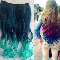 Uniwigs® Ombre Dip-dye Color Clip in Hair Extension 45-50cm Length Dark Green to Light Green Loose Curl for Teen Girls Tbe0010
