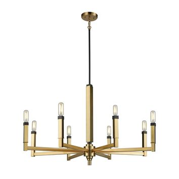 67758/8 Mandeville 8 Light Chandelier In Satin Brass With Oil Rubbed Bronze Accents - Free Shipping!