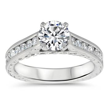 Channel Set Engagement Ring Moissanite Engagement Ring  - Channel 12