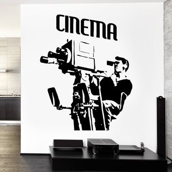 Wall Vinyl Decal Cameraman Camera Movie Hollywood Decor Unique Gift z3760