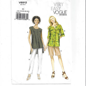 Vogue 8912 Pattern for Misses' Top, Shorts, Pants, Very Easy Vogue, FACTORY FOLDED, UNCUT, 2013, Sz 16-24, Home Sew Pattern, Plus Size