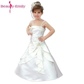 Beauty-Emily White Flower Girl Dresses 2017 Manufacturers New Flower Girl's Party Prom Dresses Sleeveless