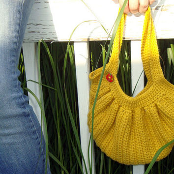 Hobo Purse  Yellow Crochet by KnotaGeek on Etsy