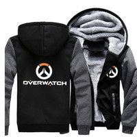 USA size Men Women Game Overwatch OW Logo Zipper Jacket Cosplay Sweatshirts Thicken Hoodie Coat Clothing Casual