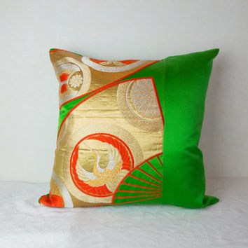 Japanese Obi Pillow (Green Obi Pillow; Decorative Obi Pillow; Japanese Kimono Obi Pillows; Made in Japan Obi Pillows; Japanese Obi Pillows)