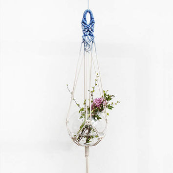 Modern Planter, BLUE, Macrame Plant Hanger, LARGE Macrame Plant Hanger, Modern Hanging Planter, Blue Decor, Macrame Plant Holder