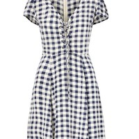 Checked Lace-Up Dress by Denim & Supply
