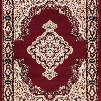 5084 Burgundy Medallion Traditional Area Rugs