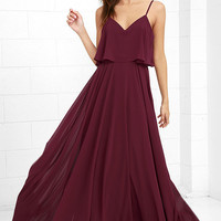 Love Runs High Burgundy Maxi Dress