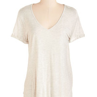 ModCloth Mid-length Short Sleeves The Best is Yet to Comfort Tee in Stone