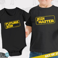 Personalized set of Star Wars big brother little brother (or sister) shirts. Perfect for a new baby and their older sibling.