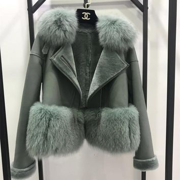 7 Colors Autumn Winter Warm Real Fur Coat Women With Real Fox Fur Trim Genuine Suede Leather Fur jackets