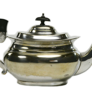 Silver Plated Bombe Teapot, Antique English, Early 1900s