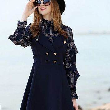 Blue Stand Collar Ruffle Plaid Puff Sleeve Mini Dress