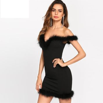 Bodycon Dress Faux Fur Trim Sweetheart Off The Shoulder Short  Sleeve Short Dress