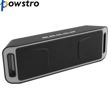 Powstro New Wireless Bluetooth 4.0 Stereo Subwoofer Speakers with Built-in Mic Bass Sound TF USB FM Radio Grey Black Color