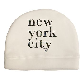 New York City - City Lights Child Fleece Beanie Cap Hat by TooLoud