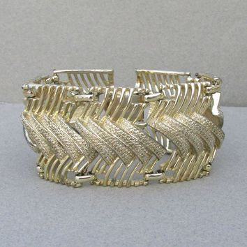 Early 1950's Signed CORO Wide Gold Tone Modern Link Bracelet