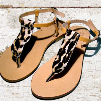 Leather sandals, women sandals, Leopard sandals, authentic animal print sandals, women shoes, stylish sandals, leather flats