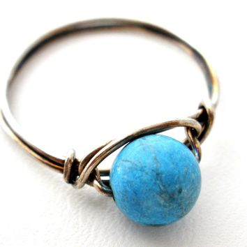 Sterling Silver Ring with Turquoise Gemstone Bead