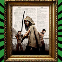 Michonne from AMCs The Walking Dead with Samurai Sword Drawn poster Awesome Upcycled Vintage Dictionary Page Book Art Print 8x10