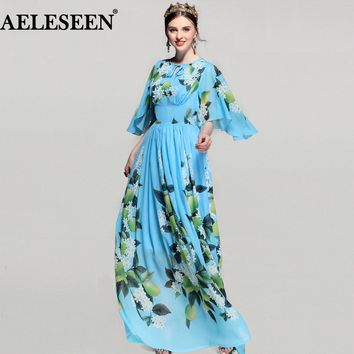 Blue Lemon Print Maxi Chiffon Dress 2018 Half Bats Sleeve Vintage Bohemian Runway Summer Dress Long Women