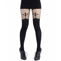 Pamela Mann Goth Cross Suspenders