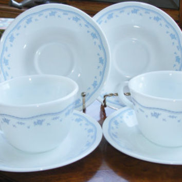 Vintage Pyrex set of cups and saucers Robin's Egg Blue and White