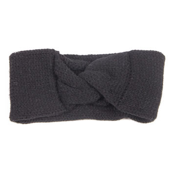 Knotted Knit Headwrap - Black