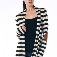Black Striped Cardigan with Suede Elbow Patch