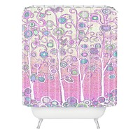 Renie Britenbucher Pink Owls Shower Curtain