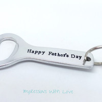 Personalised bottle opener- fathers day- gift for men -its beer o'clock -happy Father's Day- hand stamped keyring/ keychain - for him