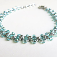 Stainless Steel Beaded Anklet - Seafoam Chainmaille Anklet