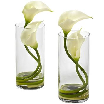 Silk Flowers -Double Calla Lily With Cylinder -Set Of 2 Arrangement