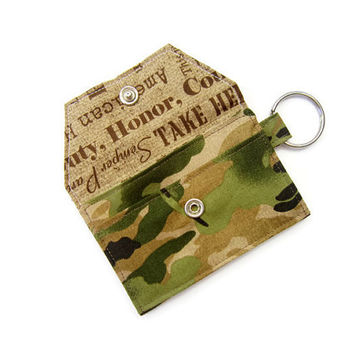 Mini key chain wallet/ simple ID Key chain pouch/ keychain coin purse / Business card holder / Camouflage / US Army