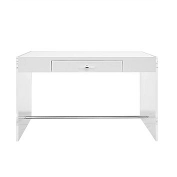 Worlds Away Lennon White Lacquer Desk