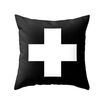 Swiss Cross Pillows, 5 Colors Options, Throw Pillow, Modern Design Cushion, Home Decor, Minimal Geometric, Red, Aqua, Grey, Black and White