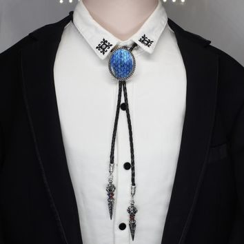 HZSHINLING oval Trendy Blue Dragon Egg Bolo Tie West Cowboy Glass  Jewelry Game of Thrones Native Dancer Bolo-tie necklace