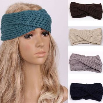 1 Pc Women Lady Crochet Bow Knot Turban Knitted Head Wrap Hairband Winter Ear Warmer Headband Hair Band Accessories W343