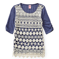 Copper Key Children Crochet-Front Top - Navy