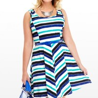 Plus Size Harbour Striped Flare Dress | Fashion To Figure