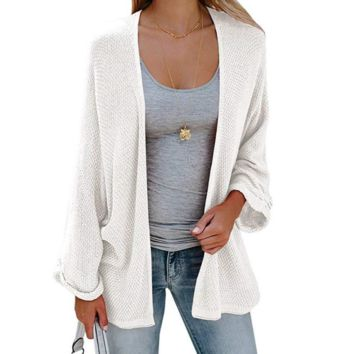 Solid Color Loose Long-Sleeved Knit Sweater
