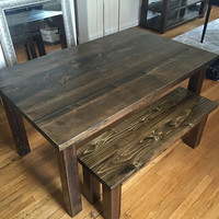 Farmhouse Dining Room Table W/ Bench